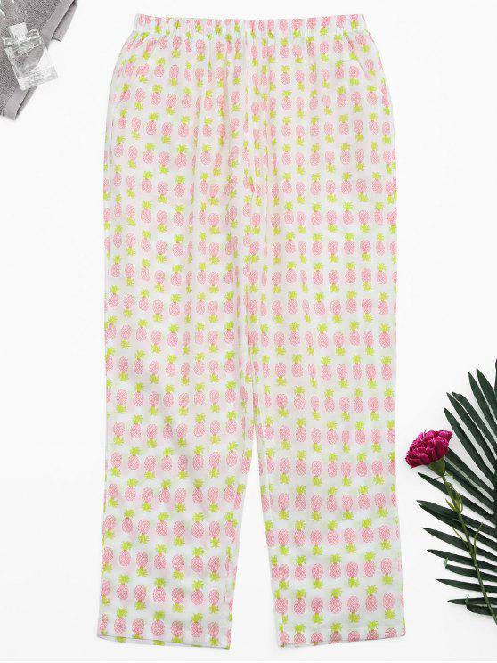 Pantaloni Loungewear di stampa ananas delle tasche laterali - Bianca XL