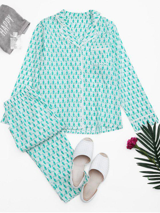 Sea Horse Print Pocket Loungewear Suit - Branco XL