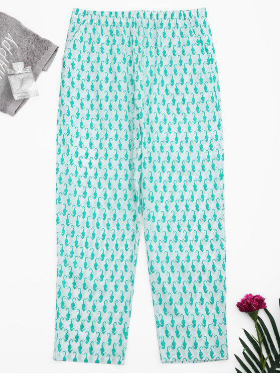 affordable Side Pockets Sea Horse Print Loungewear Pants - WHITE S