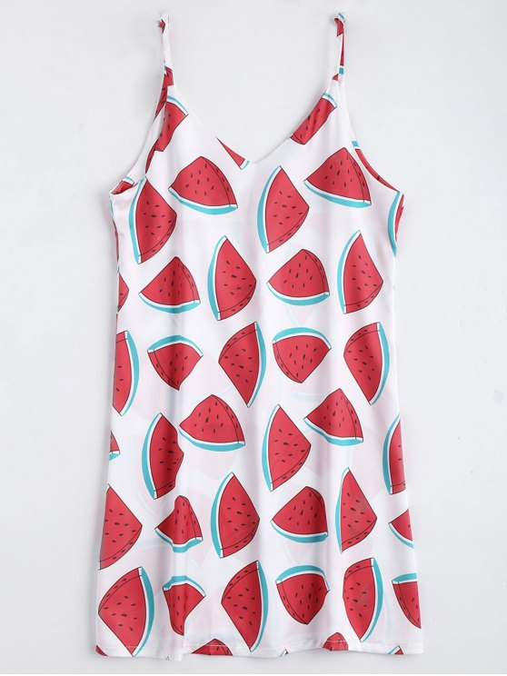 shop Watermelon Print Cami Shift Dress - RED WITH WHITE L