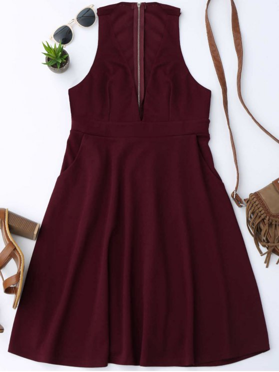 fashion Plunging Neck Sleeveless Flare Dress - WINE RED L