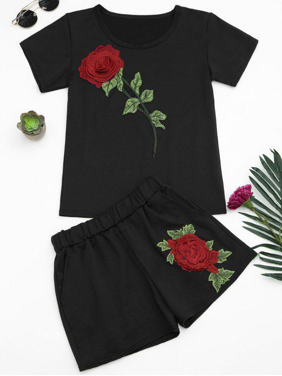 Floral Patched T-Shirt und Shorts Set - Schwarz XL