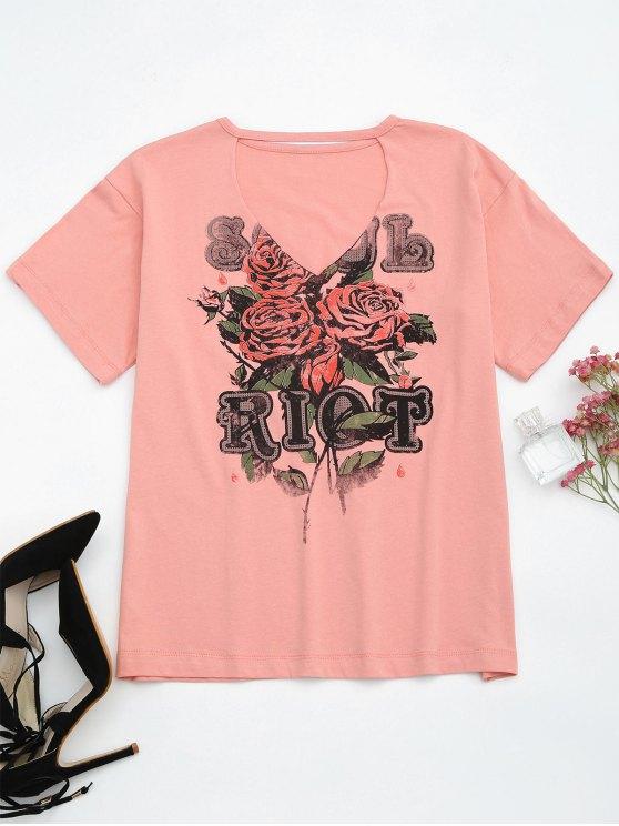 Camiseta gráfica del algodón del ahogador - Rosa M