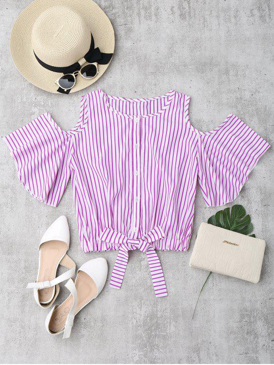 shops Cold Shoulder Button Up Striped Blouse - ROSE RED L