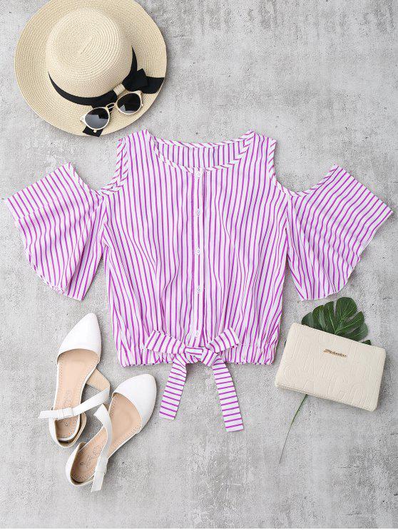 shops Cold Shoulder Button Up Striped Blouse - ROSE RED L