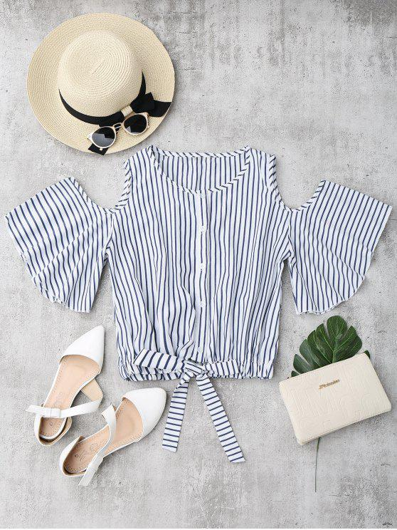 trendy Cold Shoulder Button Up Striped Blouse - STRIPE M