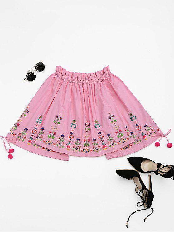 chic Embroidered Flare Sleeve Off Shoulder Blouse - PINK L