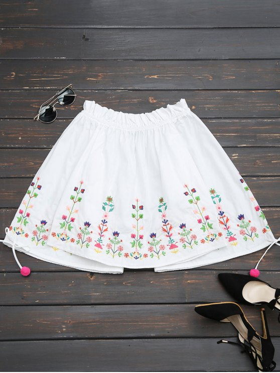 sale Embroidered Flare Sleeve Off Shoulder Blouse - WHITE L
