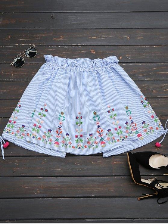 womens Floral Embroidered Stripes Off Shoulder Blouse - STRIPE L