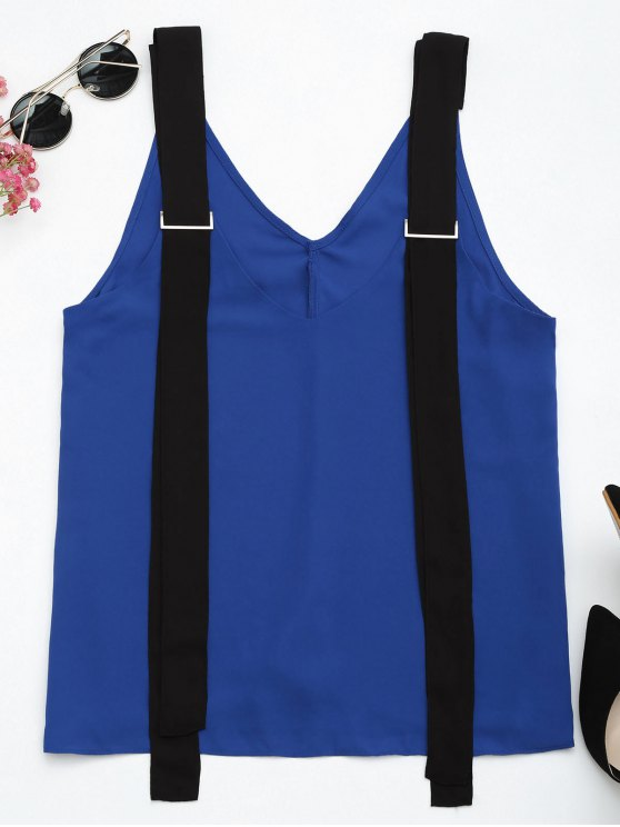hot Two Tone Chiffon Tank Top with Straps - BLUE AND BLACK L