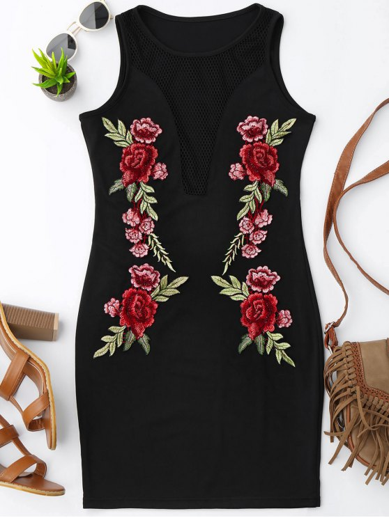 fancy Floral Patched Fishnet Bodycon Dress - BLACK XL
