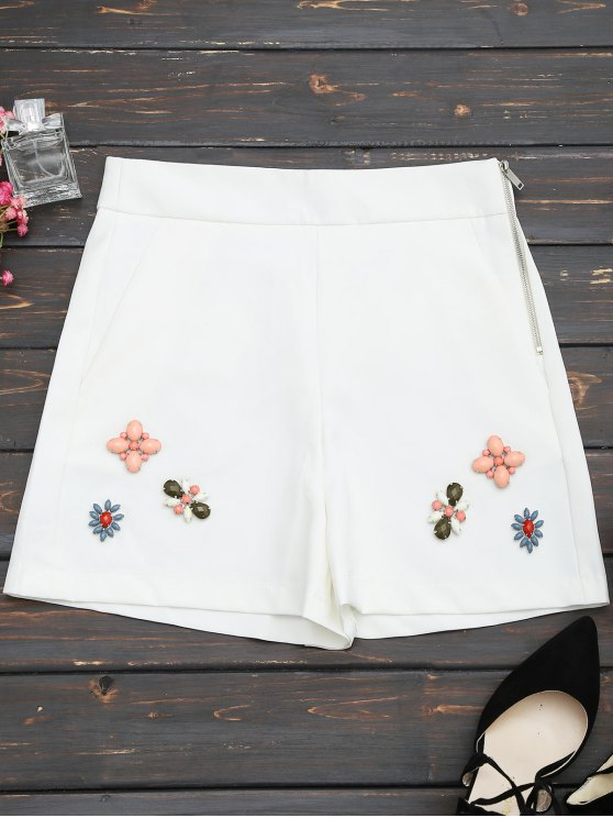 affordable High Waisted Beading Patched Shorts - WHITE L