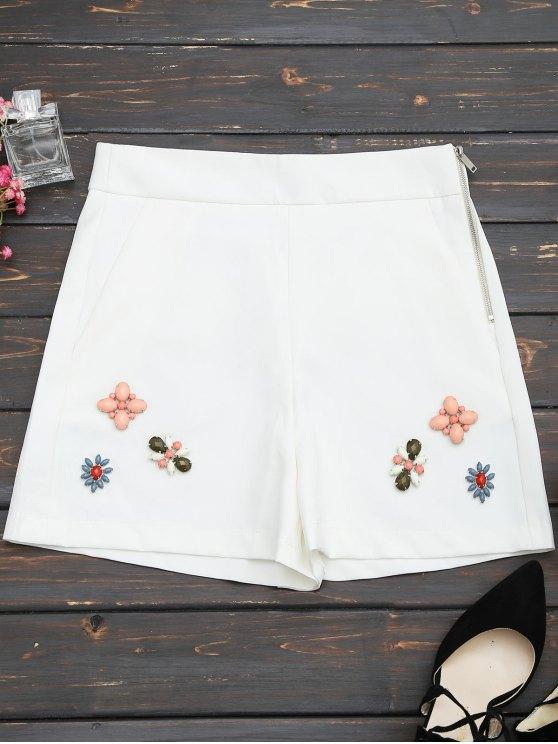 Shorts taille haute avec patch perlé - Blanc M