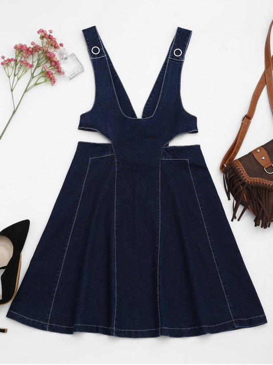فستان قطع دانيم مصغر - ازرق L