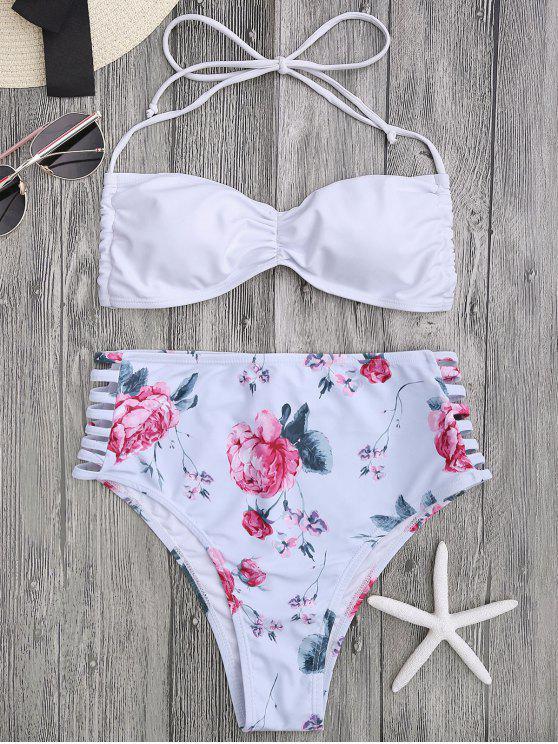 best Floral Ladder Cut Ruched High Cut Bikini - WHITE M