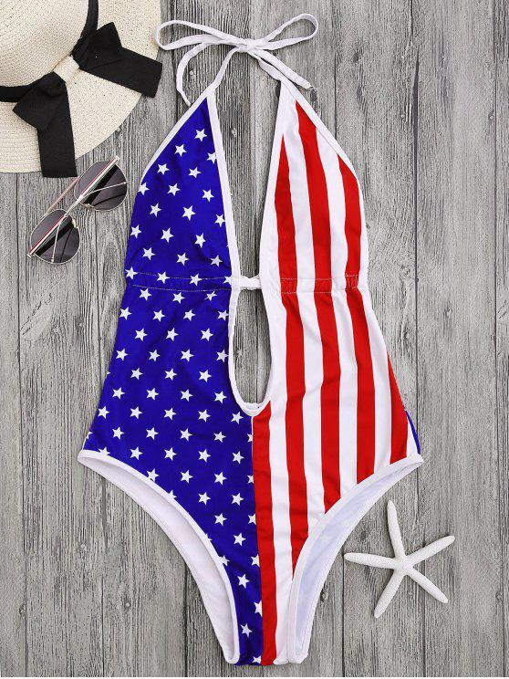 Patriótico American Flag traje de baño de corte alto - Colormix M