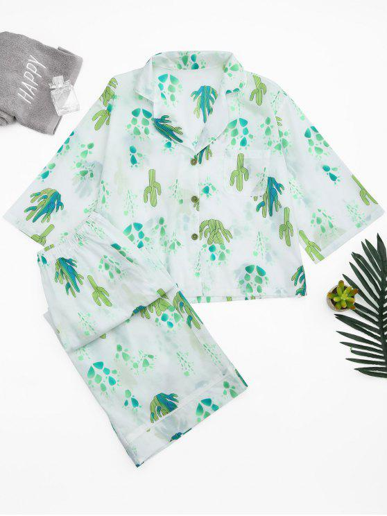womens Cactus Print Shirt with Wide Leg Pants - WHITE S