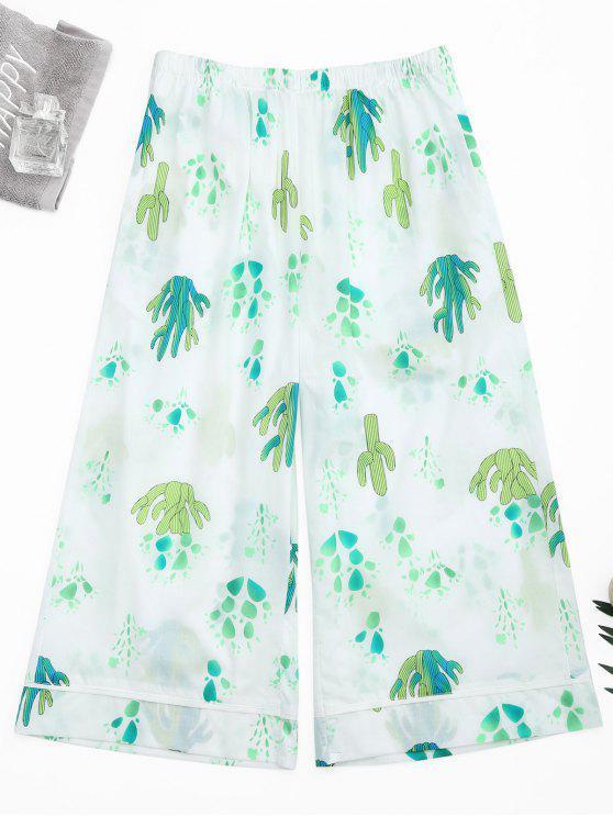 lady Wide Leg Cactus Print Capri Loungewear Pants - WHITE S