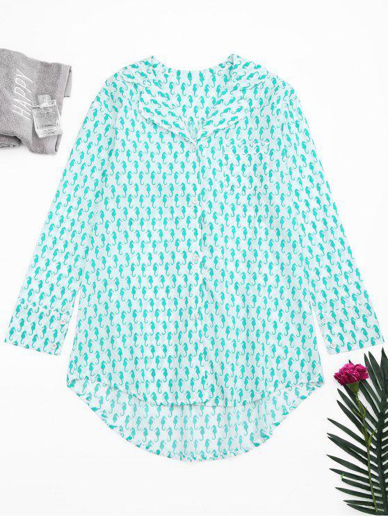 hot High Low Sea Horse Print Loungewear Shirt - WHITE S