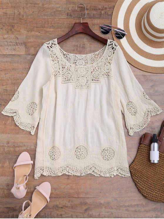 unique Loose Fitting Crochet Panel Cover Up - OFF-WHITE ONE SIZE