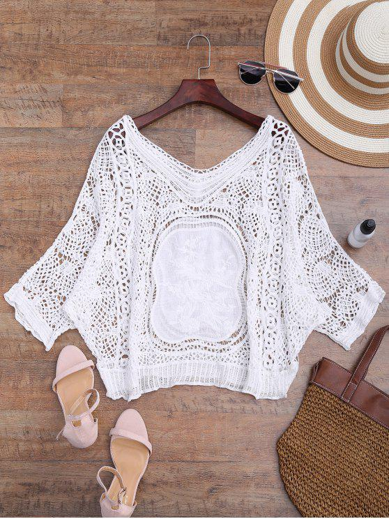 sale Loose Fitting V Neck Crochet Cover Up - WHITE ONE SIZE