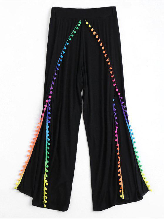 outfit Pom Embellished Tulip Cover Up Pants - BLACK S