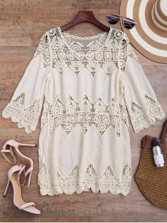 shop Hollow Out Crochet Panel Cover Up Dress - OFF-WHITE ONE SIZE