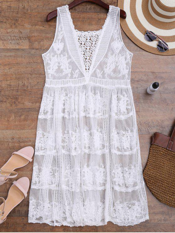 shops Crochet Panel Square Neck Sheer Cover Up Dress - WHITE ONE SIZE