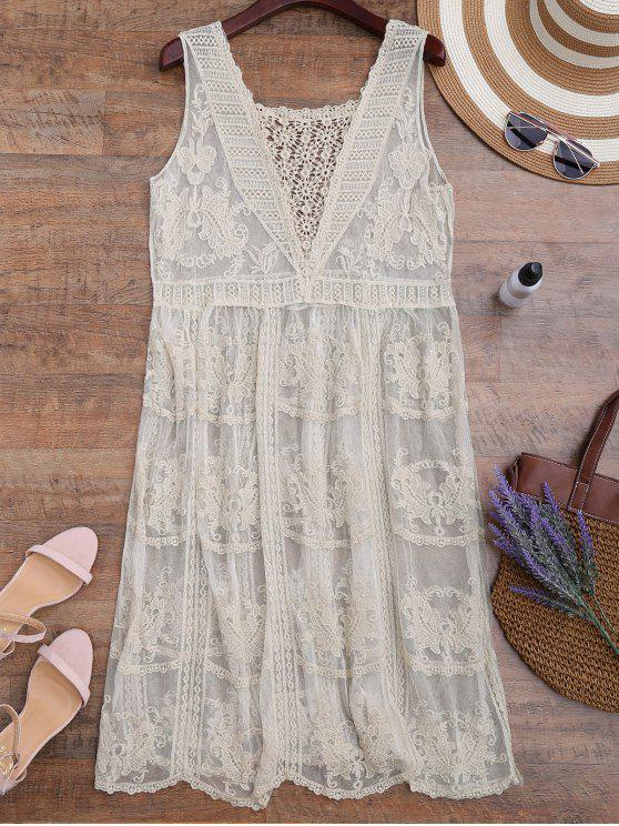 latest Crochet Panel Square Neck Sheer Cover Up Dress - OFF-WHITE ONE SIZE
