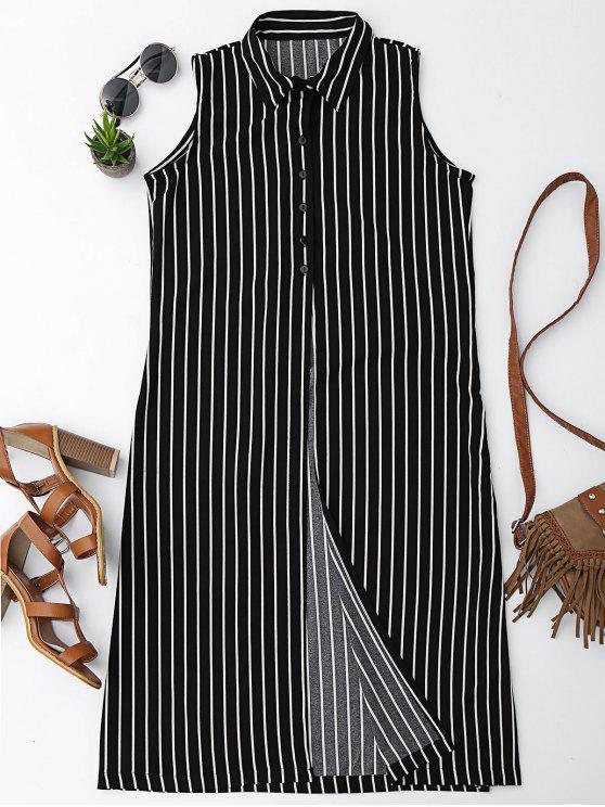 trendy Sleeveless Striped High Slit Shirt - STRIPE L