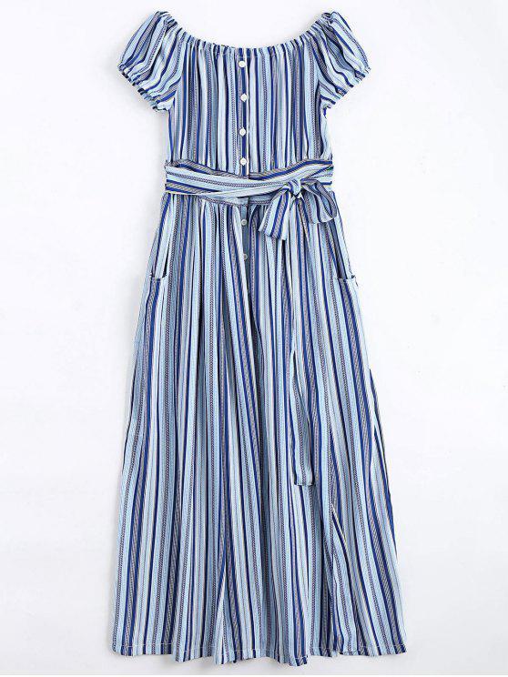فستان ماكسي مخطط زر بلا اكتاف - شريط L