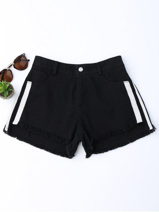 trendy Striped Frayed Hem Denim Shorts - BLACK S