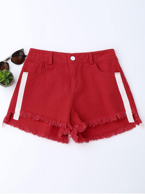 womens Striped Frayed Hem Denim Shorts - RED S