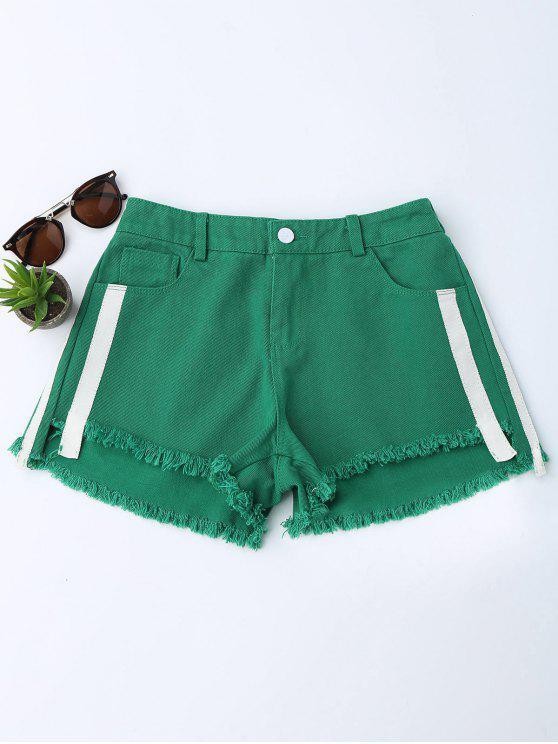 lady Striped Frayed Hem Denim Shorts - GREEN S