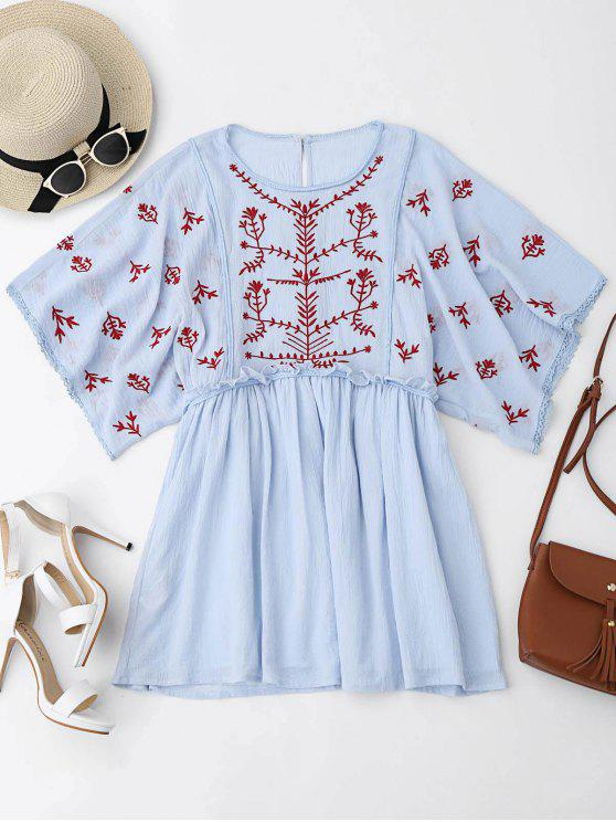 Kimono Sleeve Borded Ruffles Mini Dress - Bleu clair S