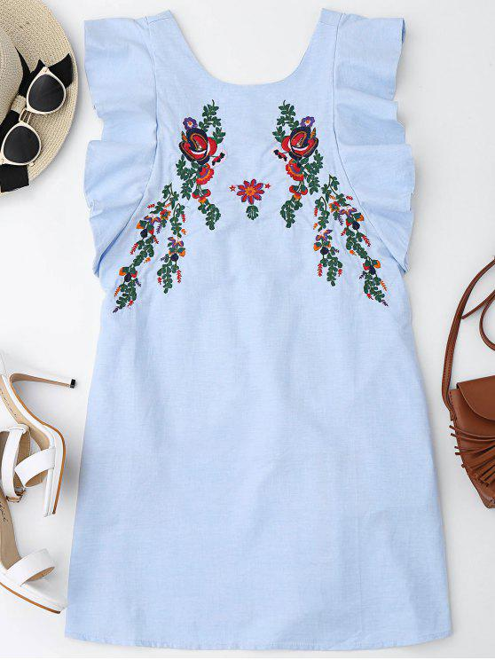 hot Ruffles Half Buttoned Embroidered Mini Dress - LIGHT BLUE L