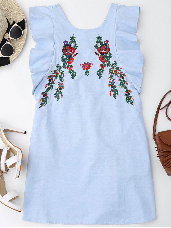 Mini robe à volants avec bouton et broderie - Bleu clair S