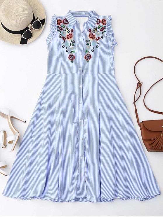 Floral bordado volantes vestido de camisa recortada - Azul Claro L