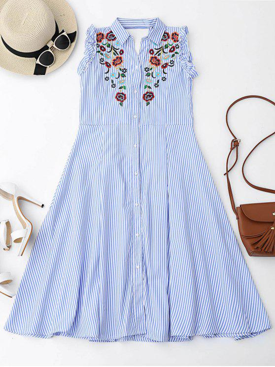 fashion Floral Embroidered Ruffles Cut Out Shirt Dress - LIGHT BLUE S