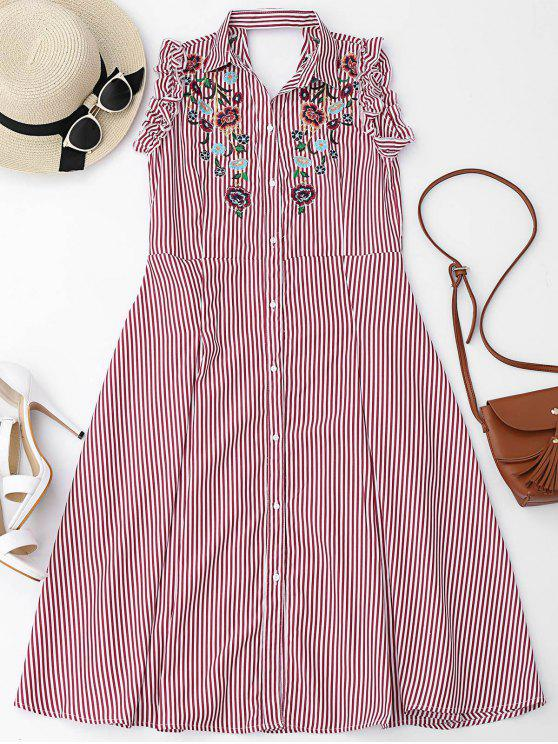 sale Floral Embroidered Ruffles Cut Out Shirt Dress - RED L