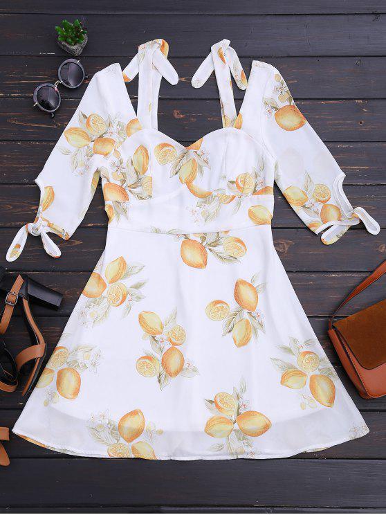 Recortado limón frío hombro mini vestido - Floral M