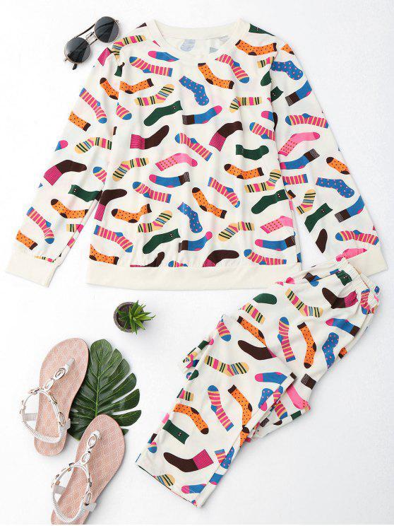 lady Cute Socks Print T-Shirt with Pants - PALOMINO L