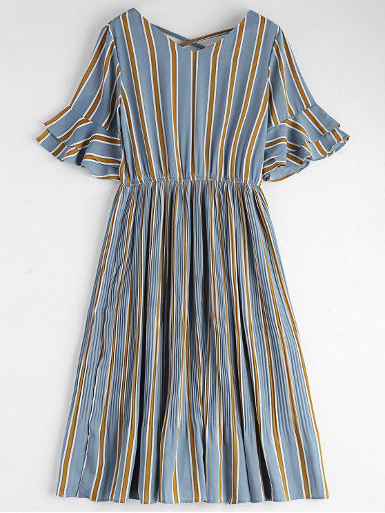 latest Criss Cross Stripes Pleated Midi Dress - STRIPE S