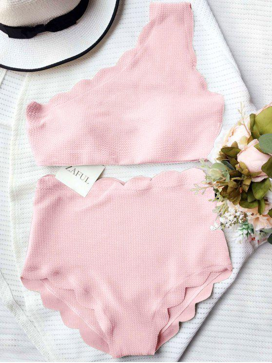 affordable High Waisted Scalloped One Shoulder Bikini - PINK S