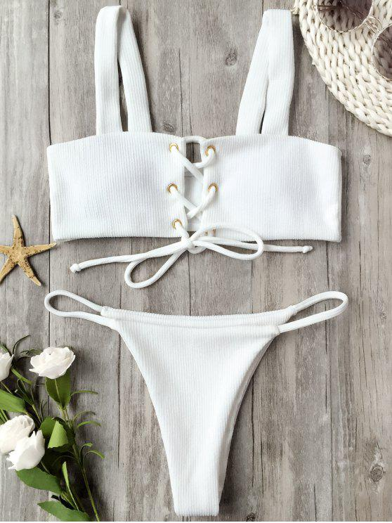 new Ribbed Texture Lace Up Bathing Suit - WHITE M