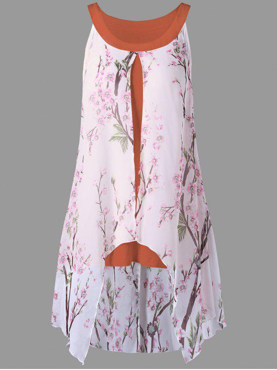 online Plus Size Tiny Floral High Low Blouse - ORANGE RED 2XL