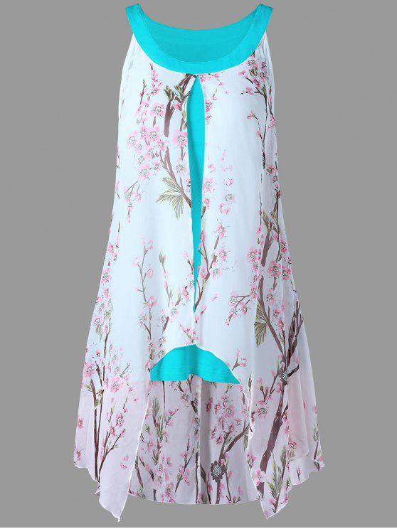 fashion Plus Size Tiny Floral High Low Blouse - CHAMBRAY XL