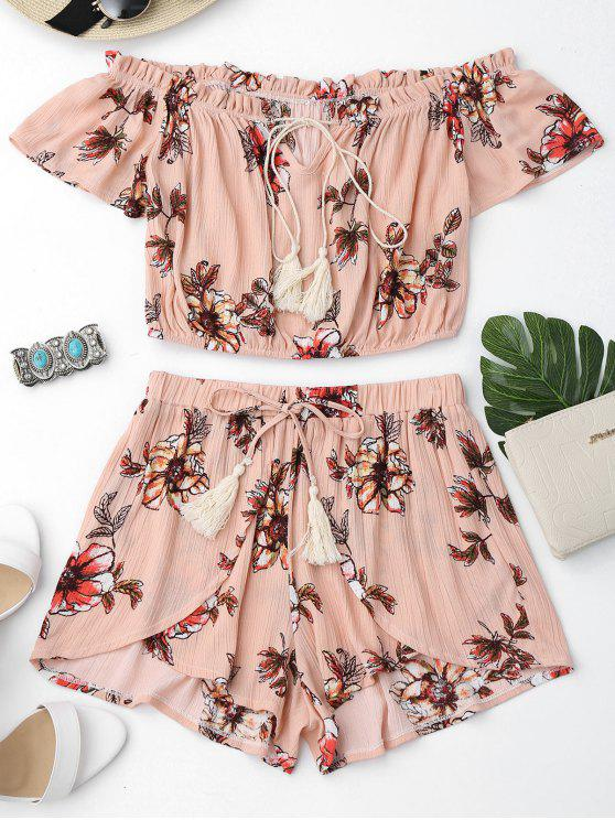 online Floral Off Shoulder Ruffles Top and Tulip Shorts - SHALLOW PINK S