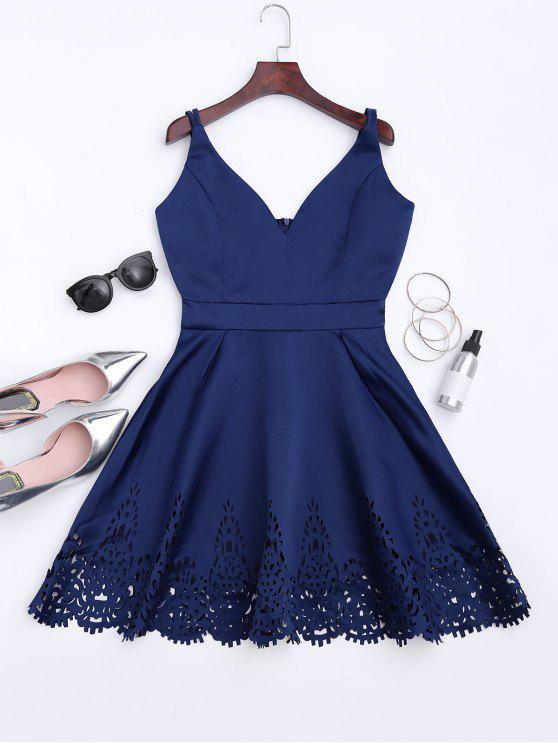 fashion Hollow Out Strappy Flare Dress - CADETBLUE M