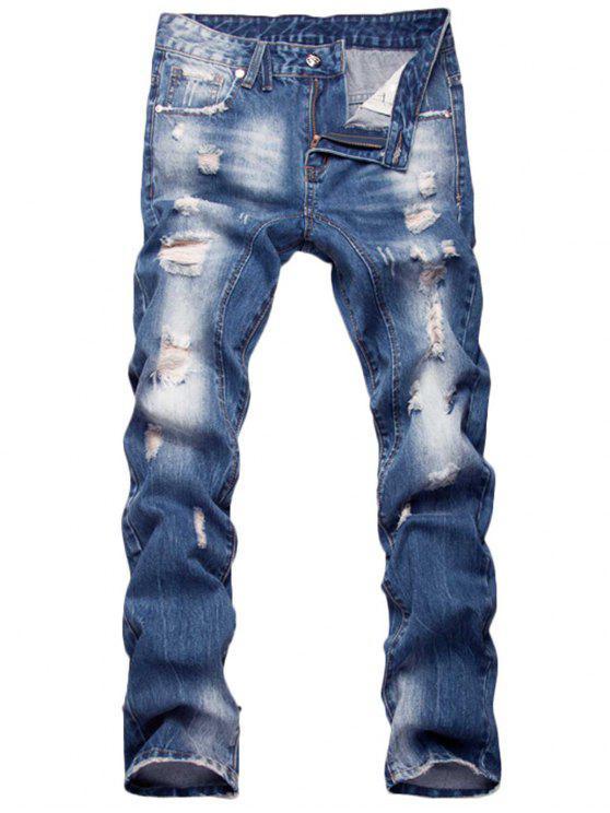 سستة يتلاشى الجينز مستقيم الساق المتعثرة - أزرق 34